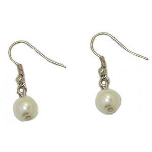 white Pearl Earrings with  hook 1 inch NWT